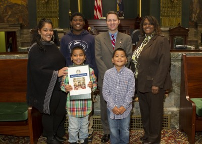 "Brian Chaney, a second grader at Sara Lindemuth/Anna Carter Primary School in Susquehanna Township, Dauphin County, is recognized at the Capitol for winning state Sen. Rob Teplitz's 2015 Fire Prevention Week Poster Contest. His poster depicted this year's theme, ""Hear the Beep Where You Sleep: Every Bedroom Needs a Working Smoke Alarm."" Brian received a certificate and he and his family, and his principal received a tour of the Capitol and recognition during a recent session of the Pennsylvania Senate."
