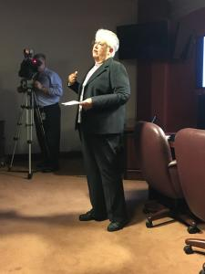 Susan Pannebaker, Youth Services Advisor from PA Dept. of Education speaks at the Arts & Culture Caucus Meeting on September 30, 2015.